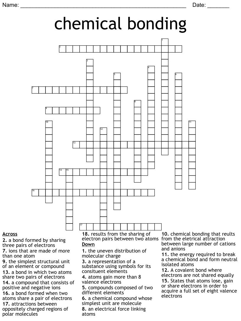 Chemical Bonding Crossword - WordMint Intended For Chemical Bonds Worksheet Answers
