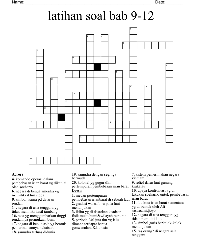 latihan soal bab 20 20 Crossword   WordMint