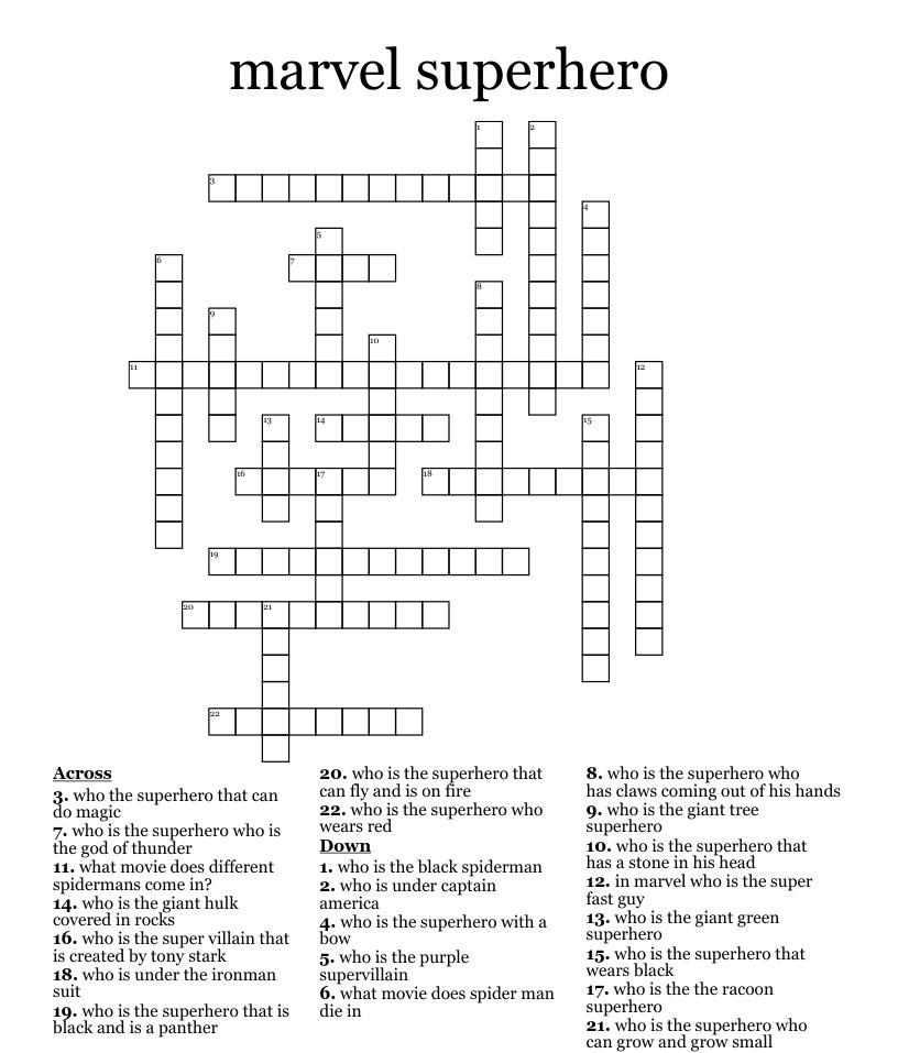 Similar to angels superhero puzzle Crossword   WordMint