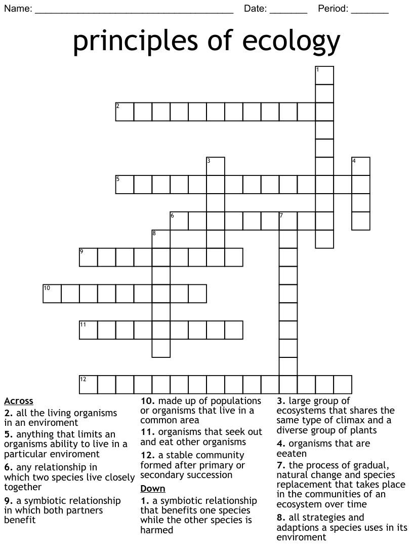 Ecological Relationships Crossword - WordMint